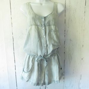 Rails Lily Romper Chambray Tencel Shorts Pockets